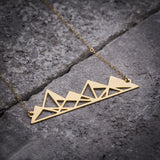 Origami Hollow Geo Mountains Necklace