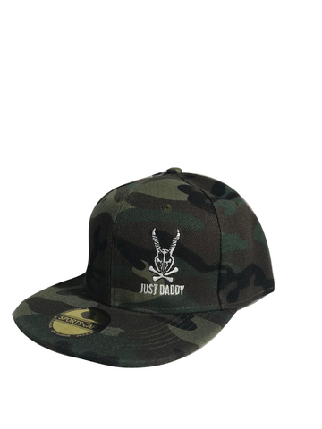 JUST DADDY CAMO FLAT WING HAT WITH EMBROIDERED LOGO