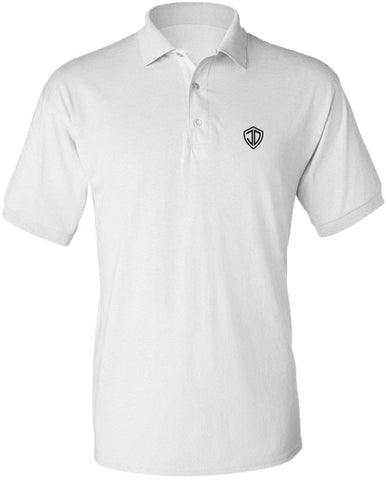 Just Daddy Polo with Black Embroidery - White