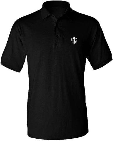 Just Daddy Polo with White Embroidery - Black