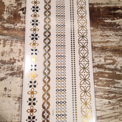Medium Design Chain Gold and Silver Flash Tattoos