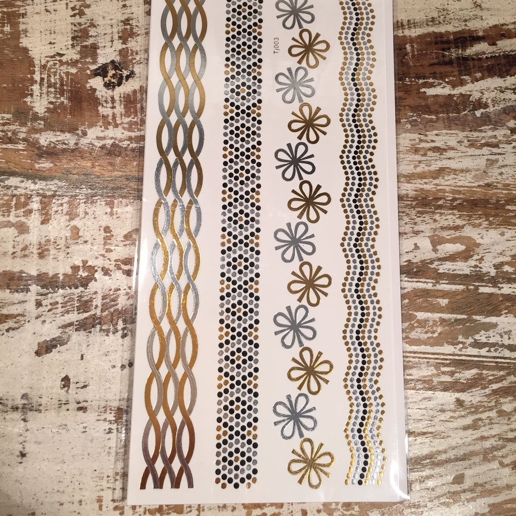 Gold and Silver Beaded Flash Tattoos