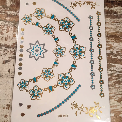 Turquoise Gold and Silver Star and Flower Flash Tattoos