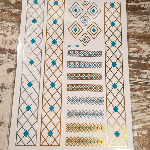 Turquoise Gold and Silver Diamond Flash Tattoos
