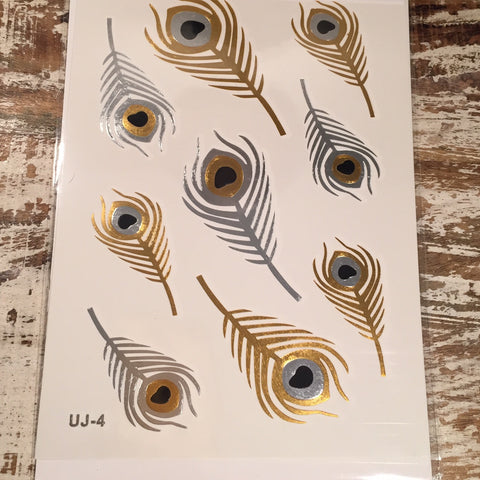 Peacock Feather Gold and Silver Flash Tattoos