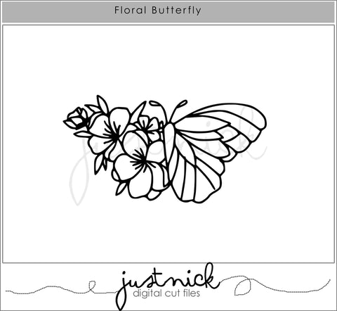 JustNick Studio, Cut Files, Floral Butterfly