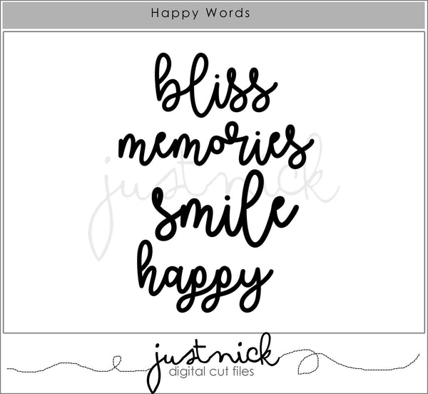 Happy Words, JustNick Studio, Cut Files, JustNick Cut Files