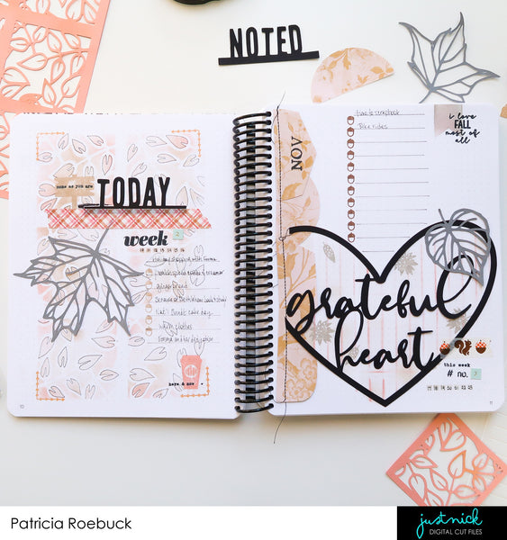 JustNick Studio, Cut Files, Leaves 5, Photo Tabs 1, Photo Tabs 2, Grateful Heart, Leaf Grid Background, Gratitude Bullet Journaling