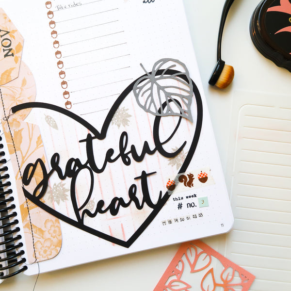 JustNick Studio, Cut Files, Grateful Heart, Photo Tabs 2, Leaves 5, Gratitude Journal