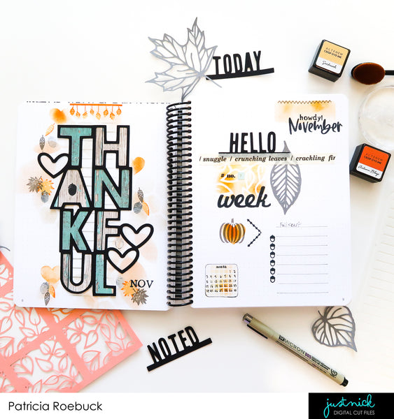 JustNick Studio, Cut Files, Gratitude Journal, Photo Tabs 1, Thankful, Leaf Background, Leaves 5, TN Fall 2