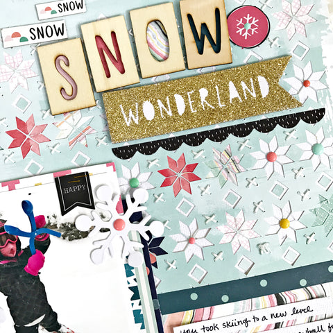 Snow Wonderful Nordic Background Scrapbooking layout by @heatherleopard