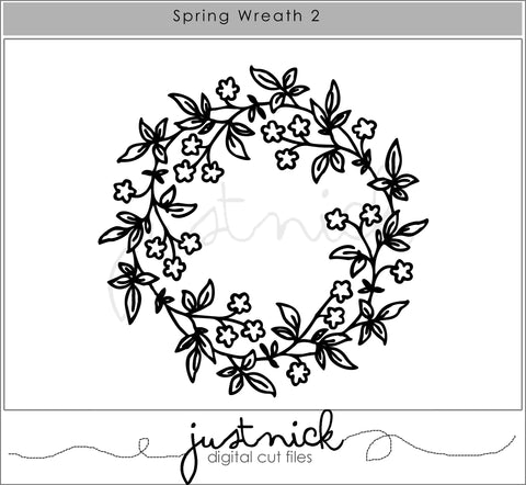 Spring Wreath 2, Cut Files, JustNick Studio, JustNick Cut Files