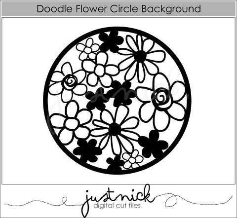 Doodle Floral Circle Background