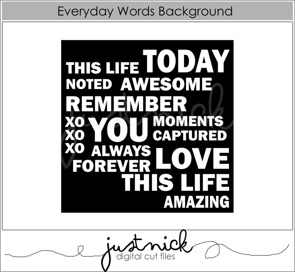 Everyday words background