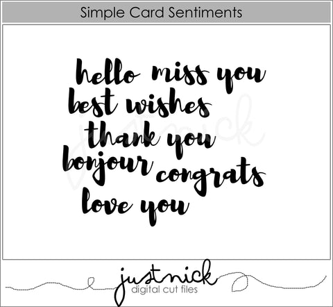 Simple Card Sentiments