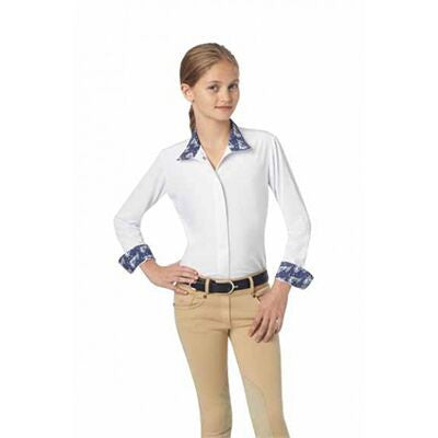Ovation Ellie Child's Tech Show Shirt White Navy Ponies Twisted Bit