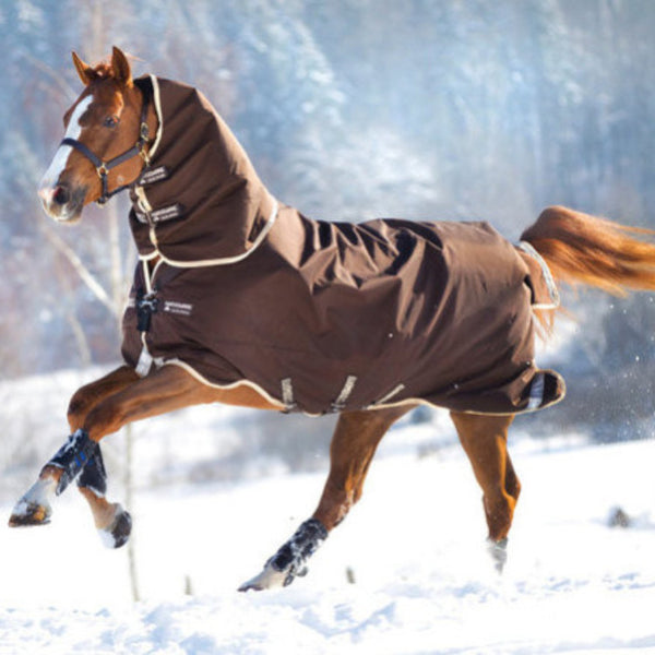 Horseware RAMBO® Duo Turnout - 100g Outer w/300g Liner & Hood Chocolate with Cream Twisted Bit