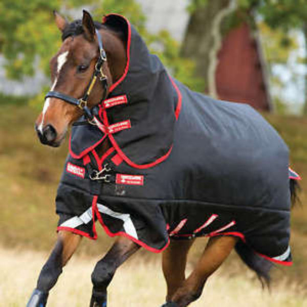 Horseware RAMBO® Supreme Turnout With Vari-Layer Heavy 450g Black with Red Twisted Bit