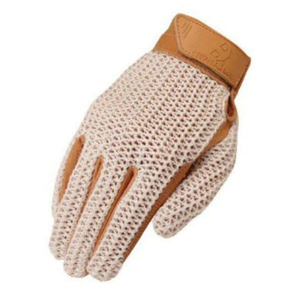 Heritage Crochet Riding Gloves Natural Tan Twisted Bit