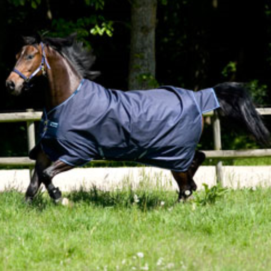 Horseware AMIGO Bravo 12 Original Turnout Lite 0g with Leg Arches Navy with Navy and White Twisted Bit