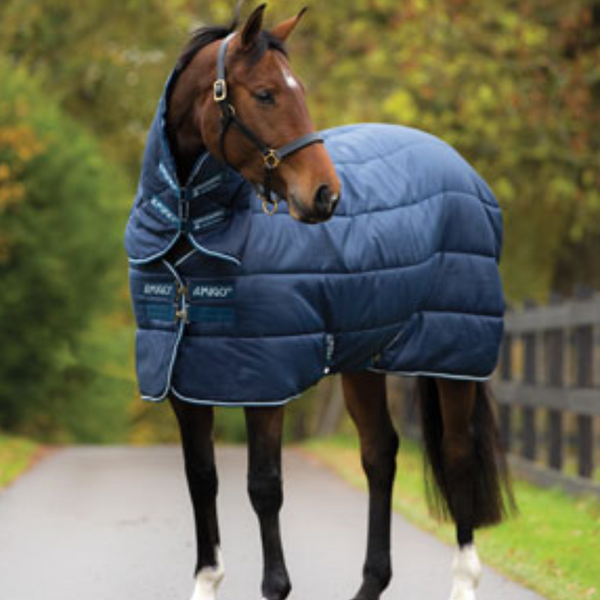 Horseware AMIGO® Insulator (Stable Blanket) Heavy 350g Navy with Navy and White Twisted Bit