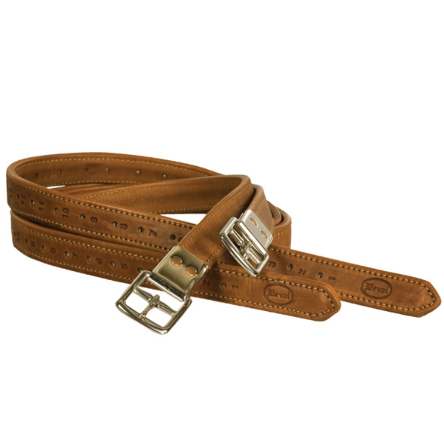 Beval Nylon Covered Stirrup Leathers Cognac Twisted Bit