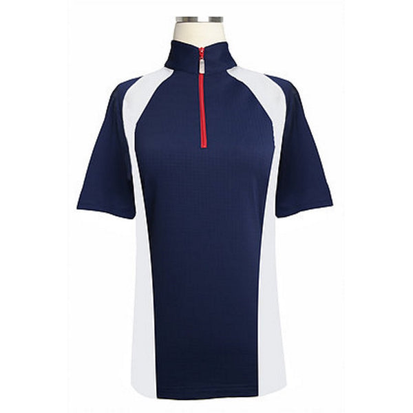 Equi In Style American Short Sleeve Shirt Navy with White and Red The Twisted Bit