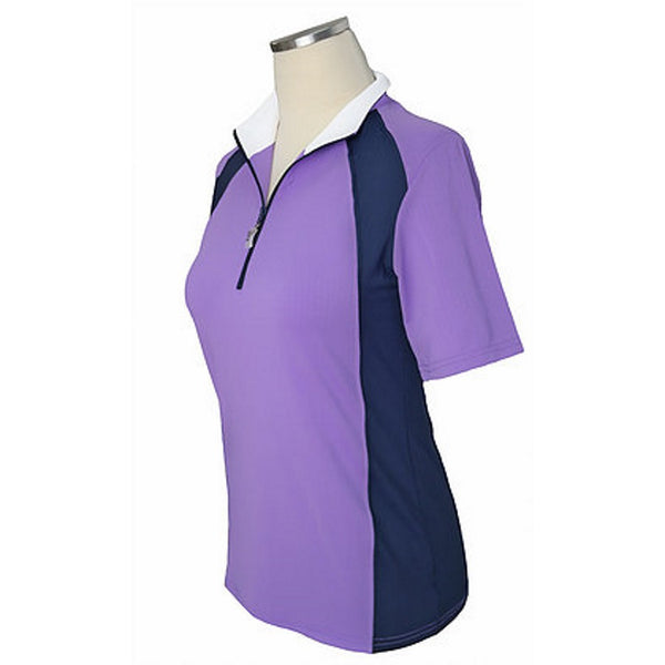Equi In Style Short Sleeve Shirt Lavender with Navy The Twisted Bit