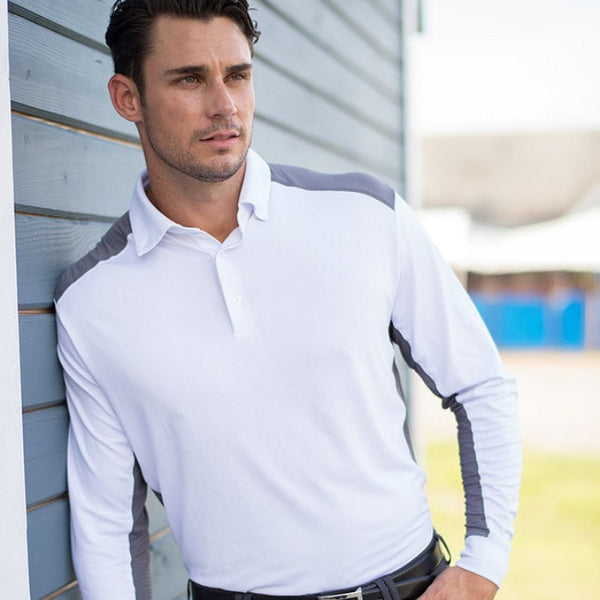 Equi In Style Men's Long Sleeve Performance Shirt White with Grey The Twisted Bit