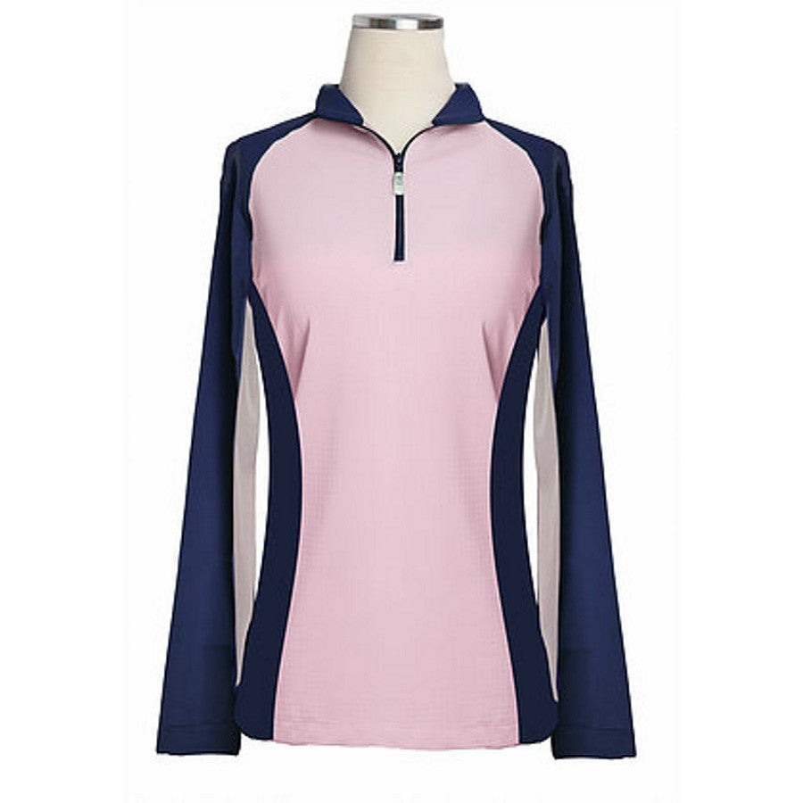 Equi In Style Paneled Cool Shirts Light Pink with Navy The Twisted Bit