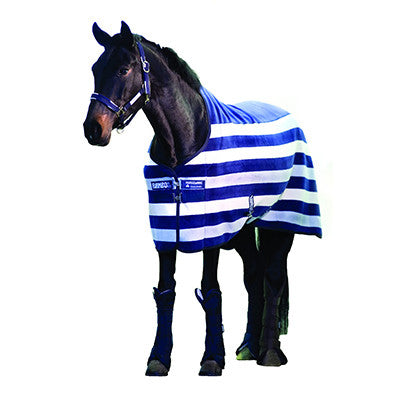 Horseware RAMBO®  Deluxe Fleece Cooler Witney Stripe Navy Twisted Bit