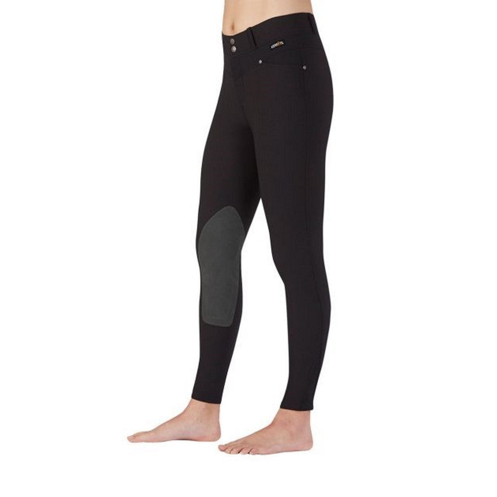 Kerrits Breeches: Womens Cross Over Kneepatch Riding Breech Black