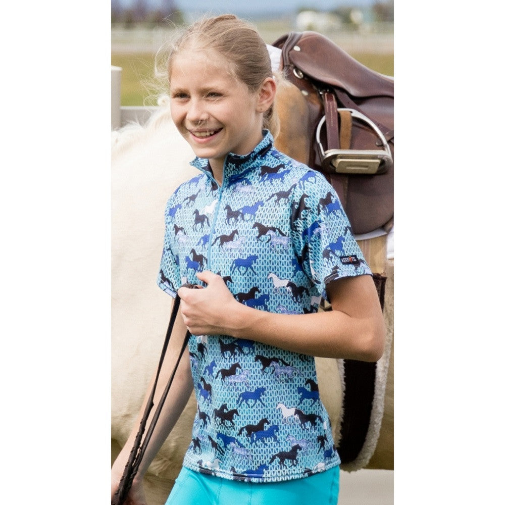 Kerrits Kids Ice Fil Blue Horses Shortsleeve Top The Twisted Bit