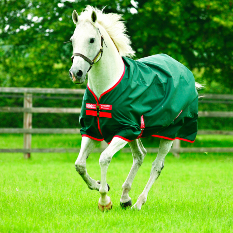 Horseware RAMBO® Original Turnout Lite Green with Red Twisted Bit