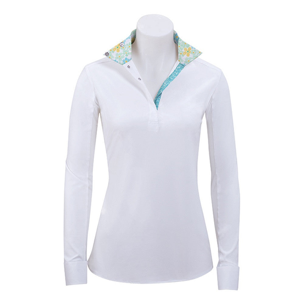 RJ Classics Ladies Rebecca White Show Shirt with Floral Trim The Twisted Bit