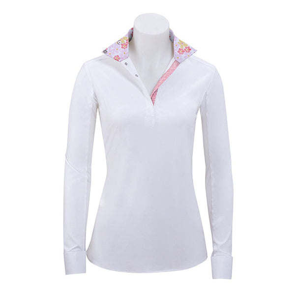 RJ Classics Girl's Rebecca Jr. White Show Shirt with Pink Floral Trim The Twisted Bit