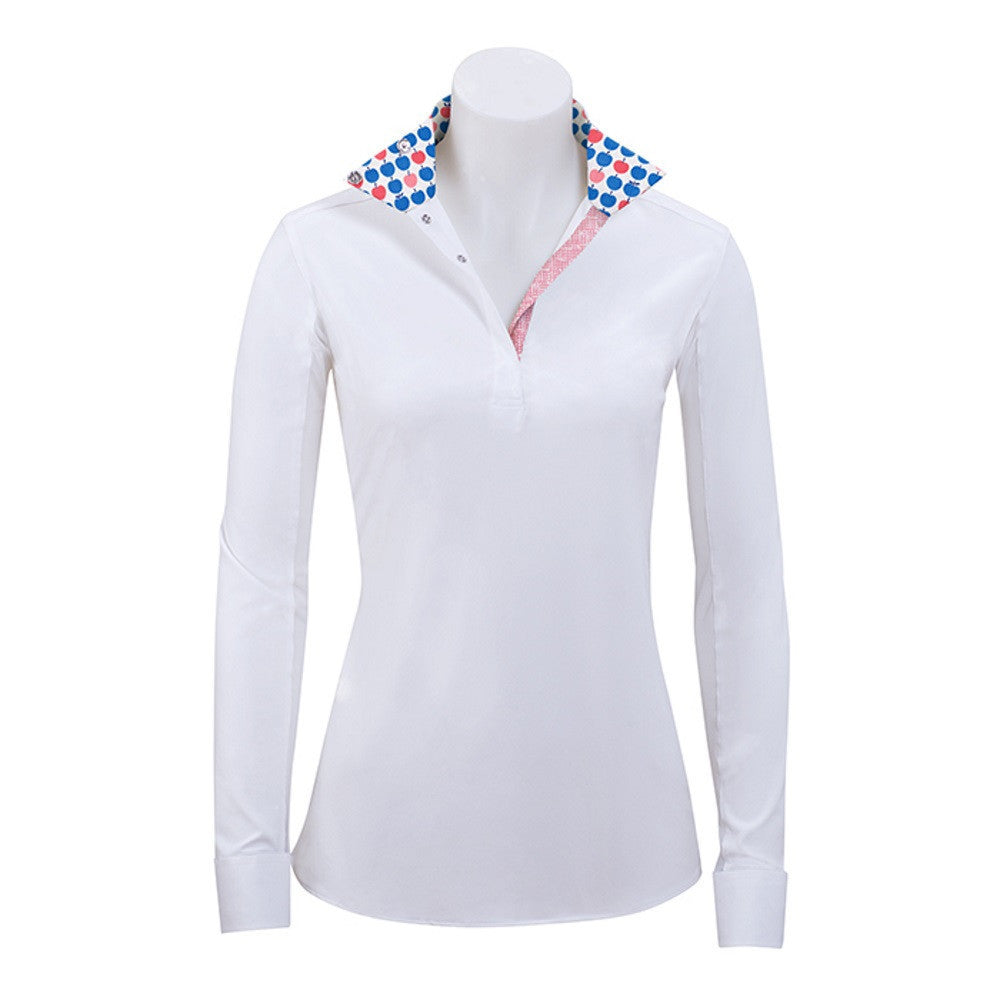 RJ Classics Girl's Rebecca Jr. White Show Shirt with Apples Trim The Twisted Bit