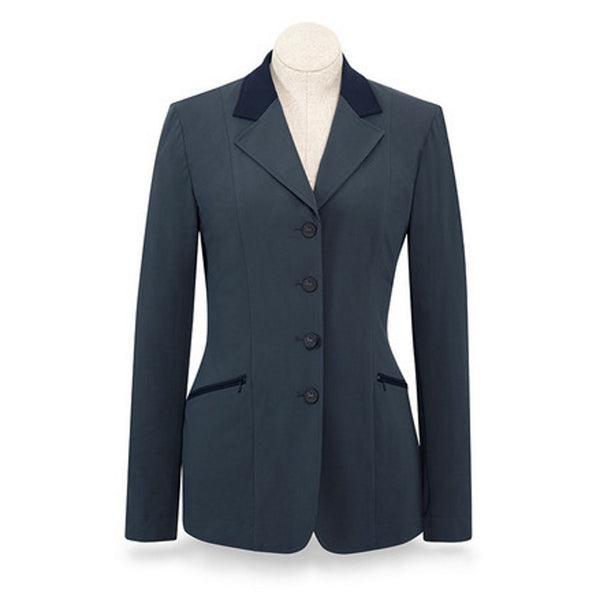 RJ Classics Ladies Grey Victory Soft Shell Show Coat w/Navy Trim The Twisted Bit
