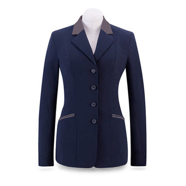 RJ Classics Ladies Navy Victory Soft Shell Show Coat w/Grey Trim The Twisted Bit