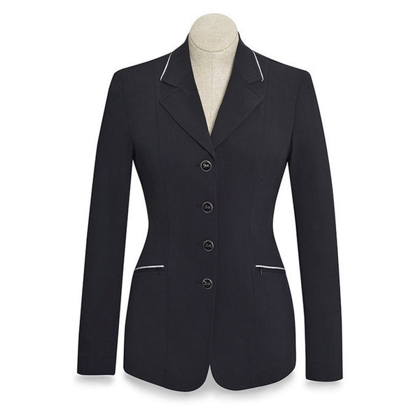 RJ Classics Ladies Black Galway Soft Shell Show Coat w/Silver Piping The Twisted Bit
