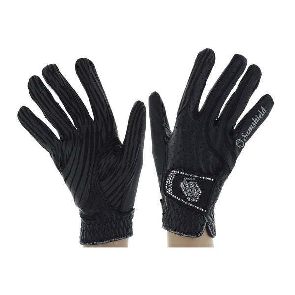 Samshield Swarvoski Gloves Black Twisted Bit