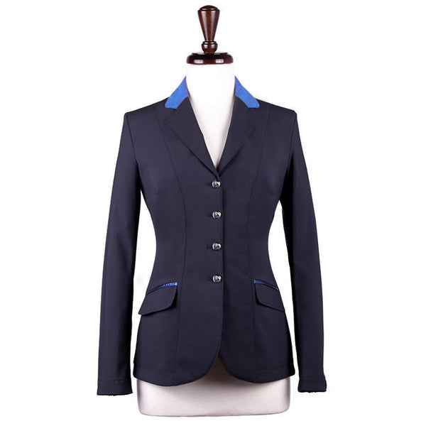 Sarm Hippique ANTEA Classic Show Coat Navy with Light Blue Suede Twisted Bit