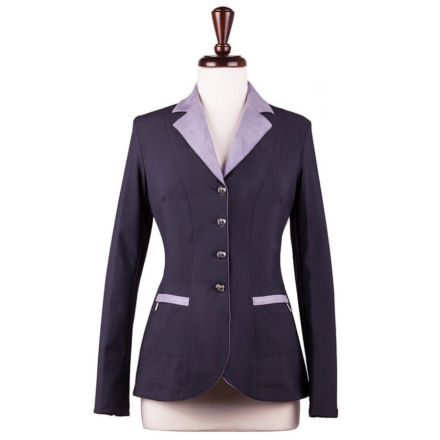 Sarm Hippique VERBANIA Show Coat Navy with Violet Suede Twisted Bit