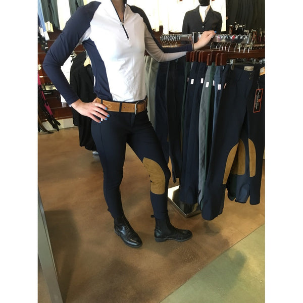 Tailored Sportsman Ladies Trophy Hunter Low Rise Front Zip Breech Black and Blue with Tan The Twisted Bit