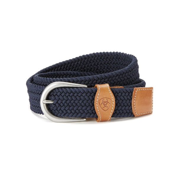 Ariat Unisex English One Rail Woven Belt Navy The Twisted Bit