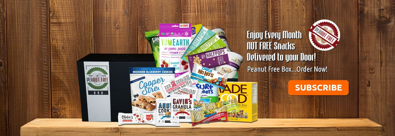 ENJOY A BOX FULL OF PEANUT & NUT FREE SNACKS, TREATS, AND SWEETS!