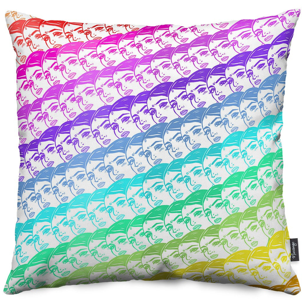 Rainbow Death Stare Throw Pillow
