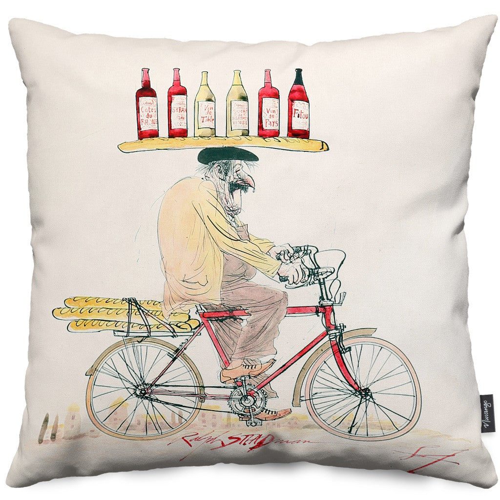 Frenchman On Bike Throw Pillow