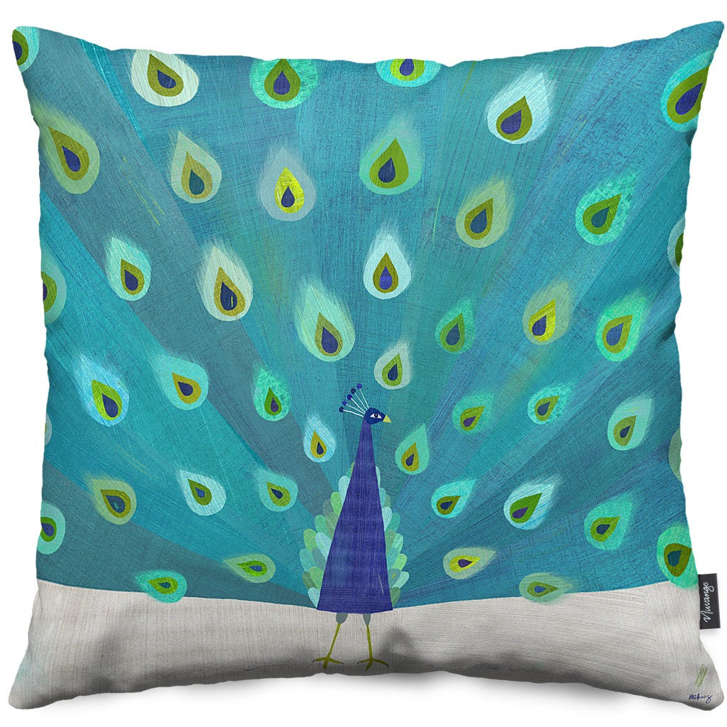 Patterned Peacock Throw Pillow