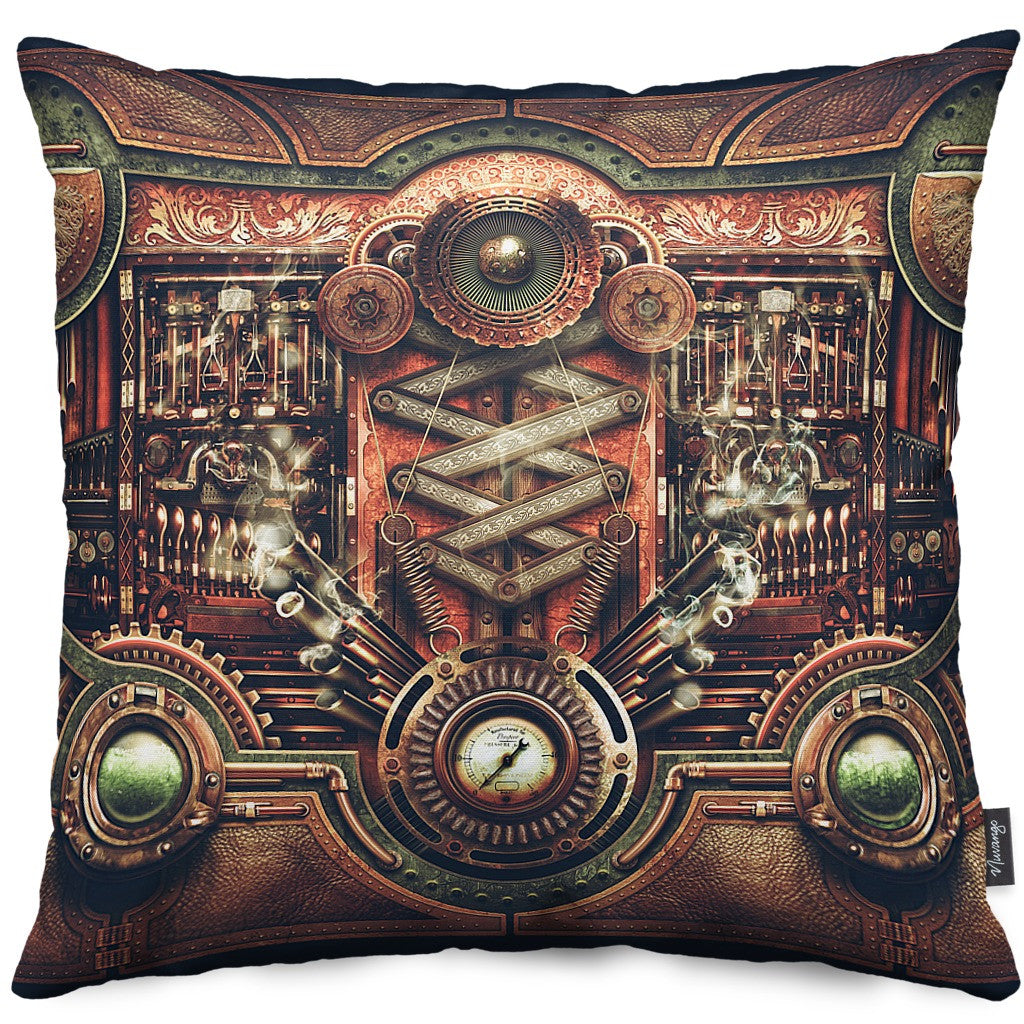 Steampunk Motherboard Throw Pillow